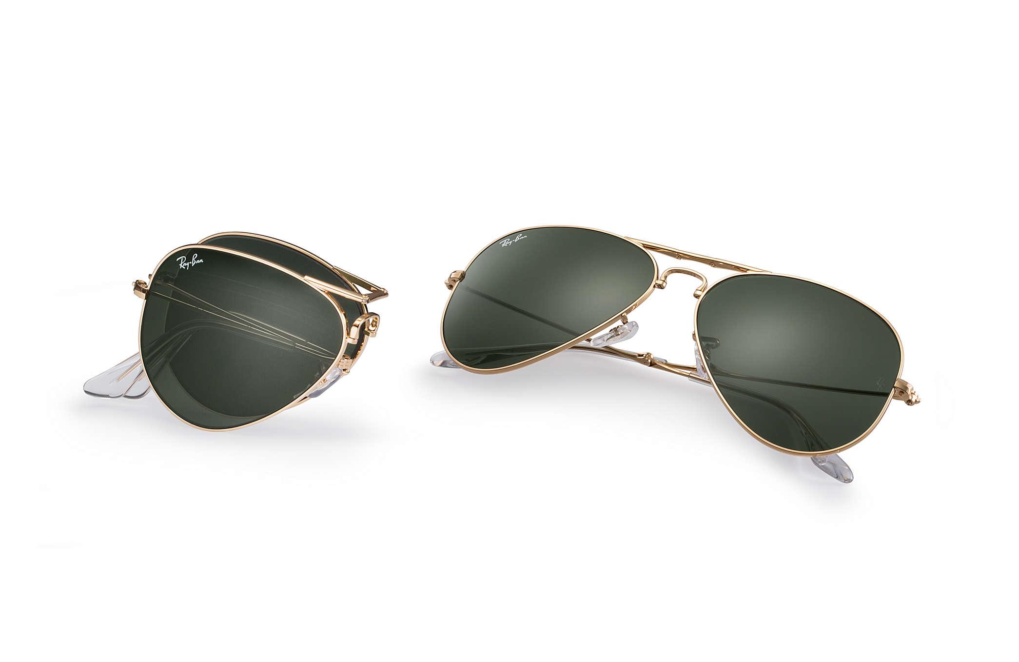 ray ban sunglasses folding aviator  ray ban 0rb3479 aviator folding gold sun