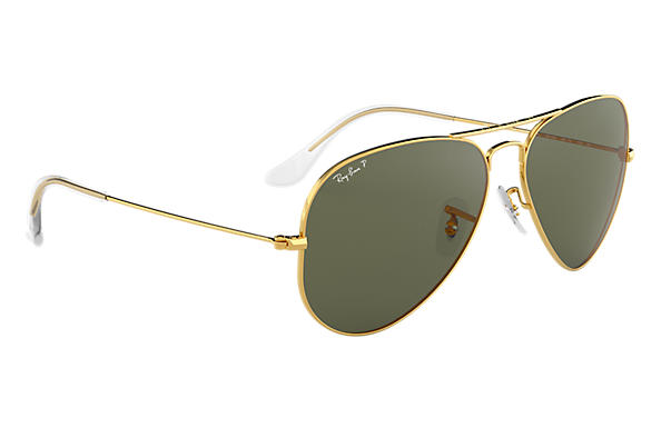 ray ban green gold aviators  Ray-Ban Aviator Classic Gold, Polarized Lenses - RB3025