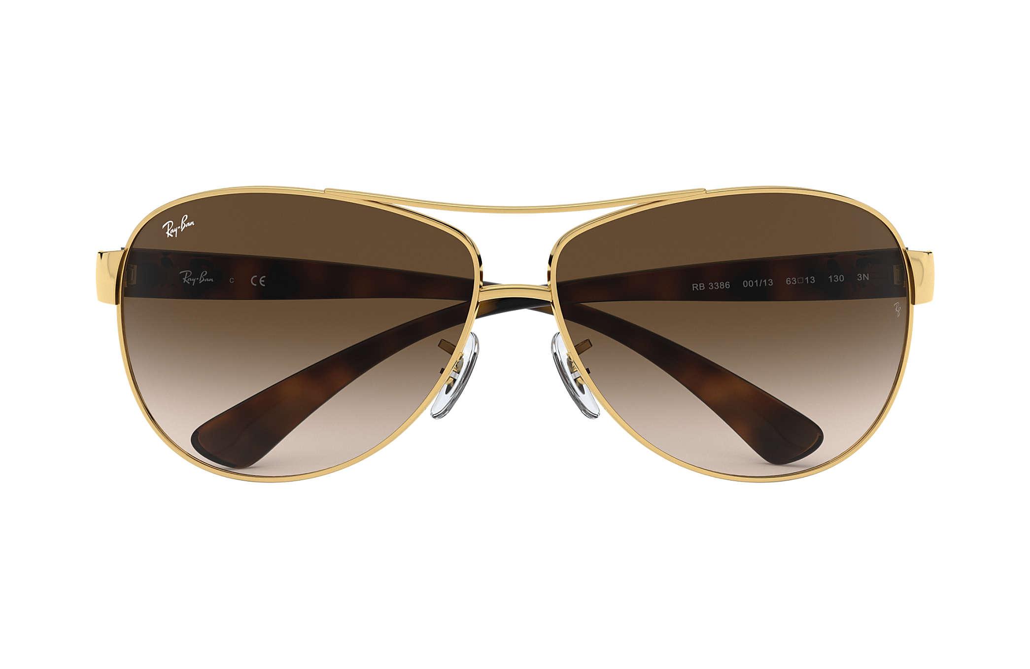 ray ban gold  Ray-Ban RB3386 Gold Tortoise, Brown Lenses