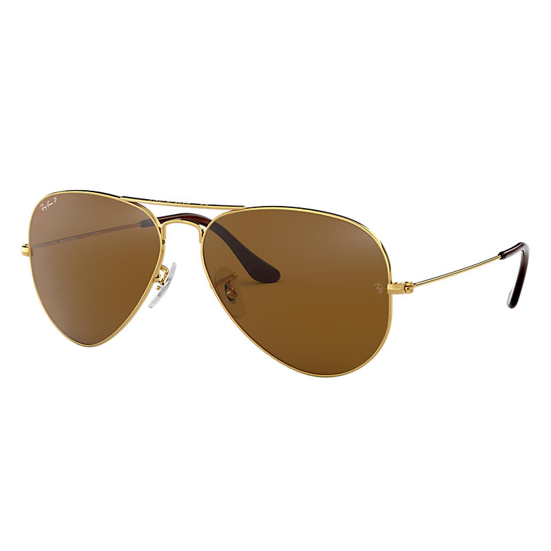 Image of Ray-Ban Aviator Classic Gold Sunglasses, Polarized Brown Lenses - Rb3025