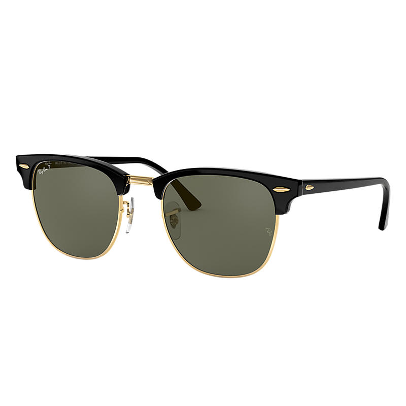 Ray-ban Mens Clubmaster Classic Black Sunglasses, Polarized Green Lenses Rb3016