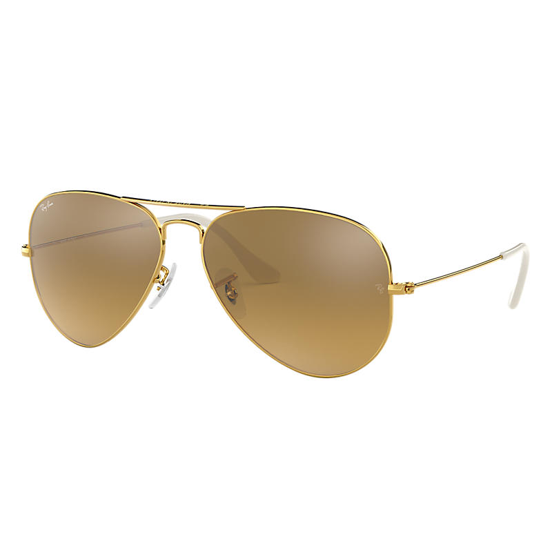 Ray-ban Mens Aviator Gold Sunglasses, Brown Lenses Rb3025