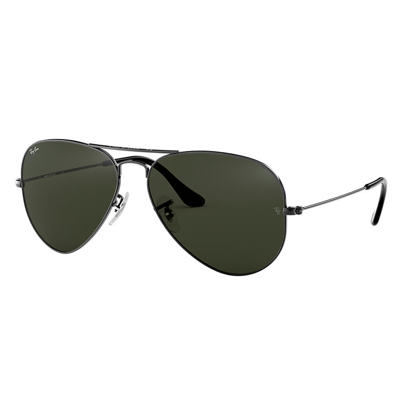 Image of Ray-Ban Aviator Classic Gunmetal Sunglasses, Green Lenses - Rb3025