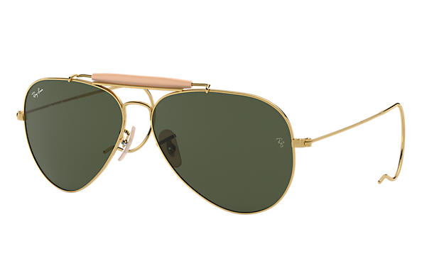 ray ban 3138  ray ban outdoorsman gold with green classic g 15 lens