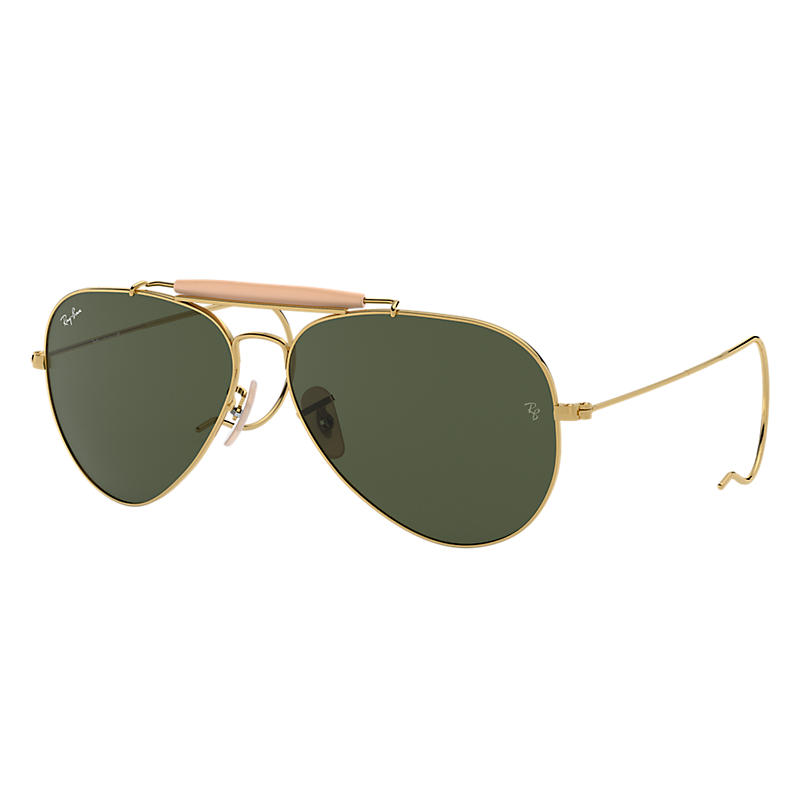 Ray-ban Mens Outdoorsman Gold Sunglasses, Green Lenses Rb3030