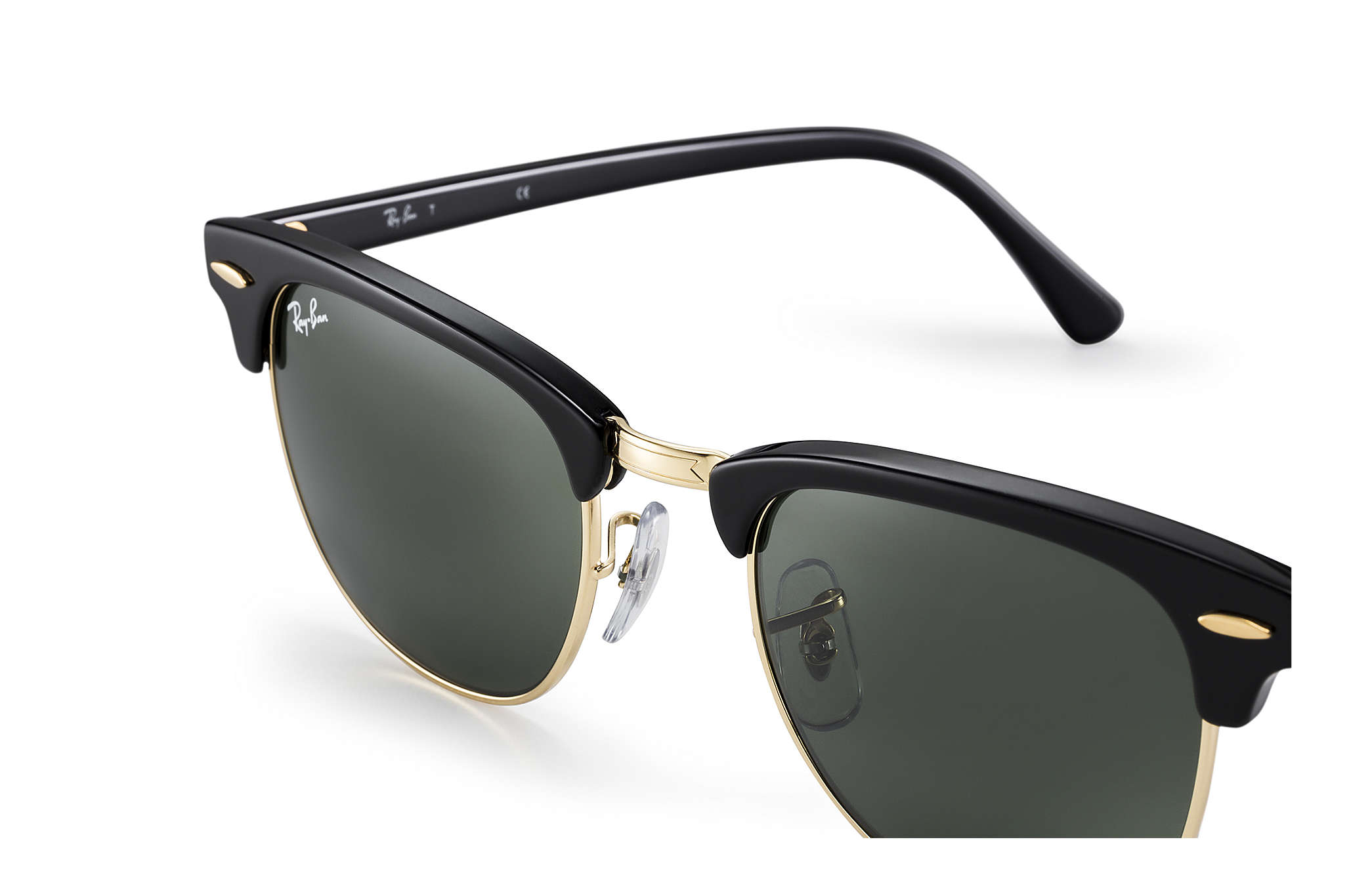 ray ban classic clubmaster black  CLUBMASTER CLASSIC Sunglasses Black Acetate, Green Classic G-15 ...