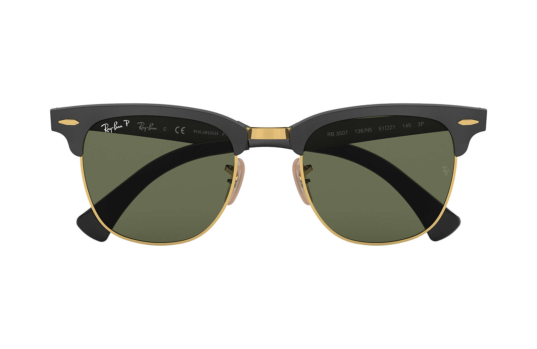 ray ban rb 2035  Ray-Ban Clubmaster Aluminum Black, Polarized Lenses - RB3507