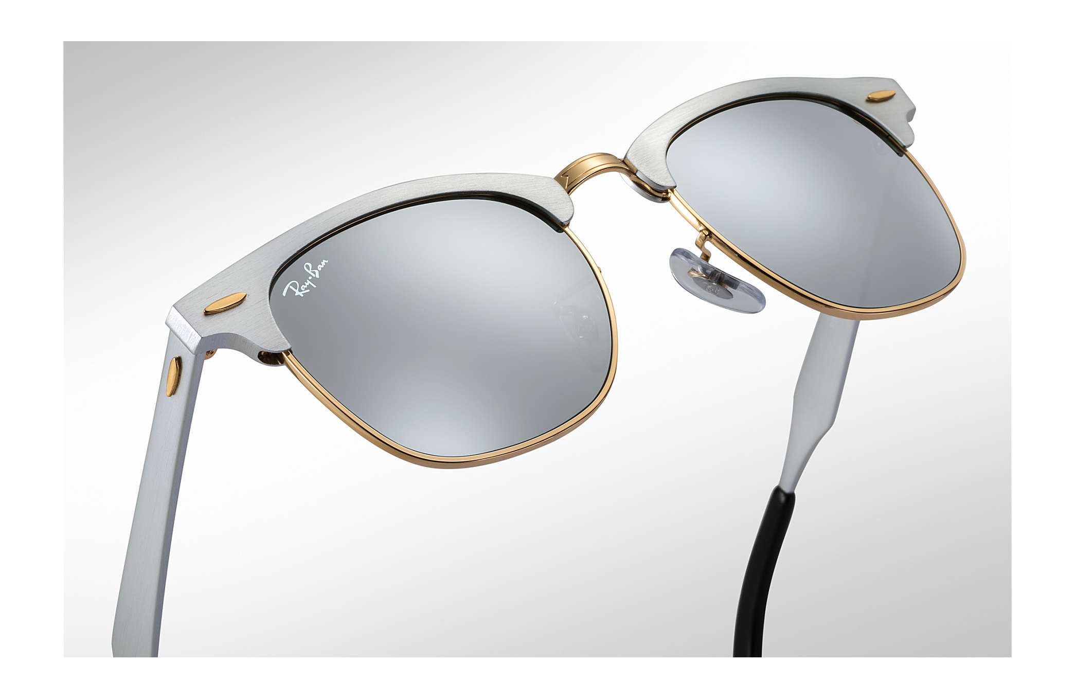 ray ban clubmaster silver gold  Ray-Ban Clubmaster Aluminum Silver, RB3507