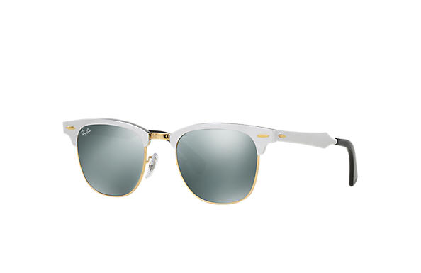 ray ban clubmaster silver gold  Ray-Ban Clubmaster Aluminum Black, Polarized Lenses - RB3507