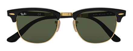 Ray-Ban Clubmaster Folding Black with Green Classic G-15 lens