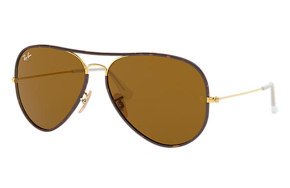 Ray-Ban 0RB3025JM-AVIATOR FULL COLOR Tortoise; Gold SUN