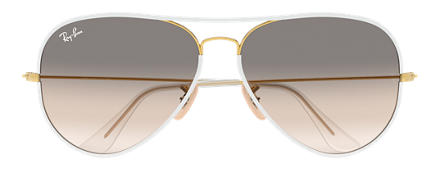 Ray-Ban AVIATOR FULL COLOR White with Light Grey Gradient lens