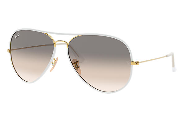 Ray-Ban 0RB3025JM-AVIATOR FULL COLOR White; Gold SUN
