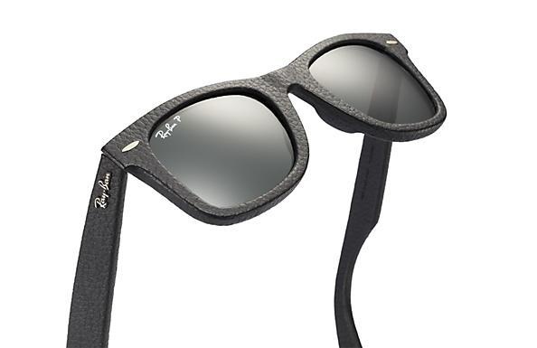 black ray ban wayfarer  Ray-Ban Wayfarer Leather Black, Polarized Lenses - RB2140QM