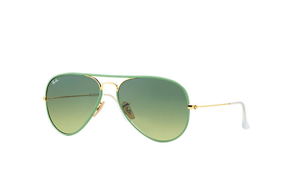 Ray-Ban 0RB3025JM-AVIATOR FULL COLOR Green; Gold SUN