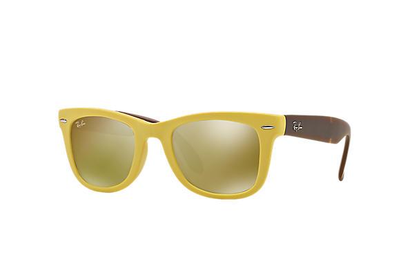 yellow ray ban wayfarer sunglasses  ray ban 0rb4105 wayfarer folding flash lenses yellow; brown sun