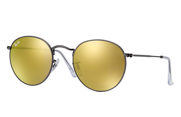 sunglasses ray ban  Ray-Ban Round Flash Lenses Gold, RB3447