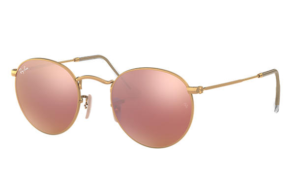 Ray-Ban 0RB3447-ROUND FLASH LENSES Guld SUN
