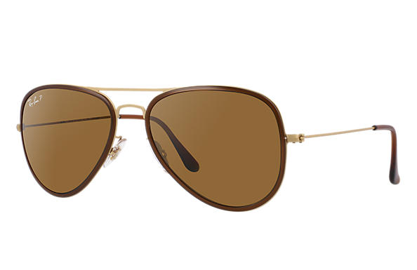Ray-Ban 0RB3513M-AVIATOR FLAT METAL Marrón,Oro; Oro SUN