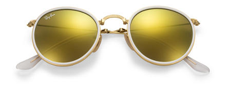 Ray-Ban ROUND FOLDING Or avec verres Jaune Flash