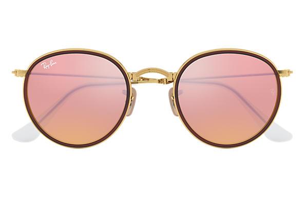 pink ray ban aviators  Ray-Ban Round Folding Gold, RB3517