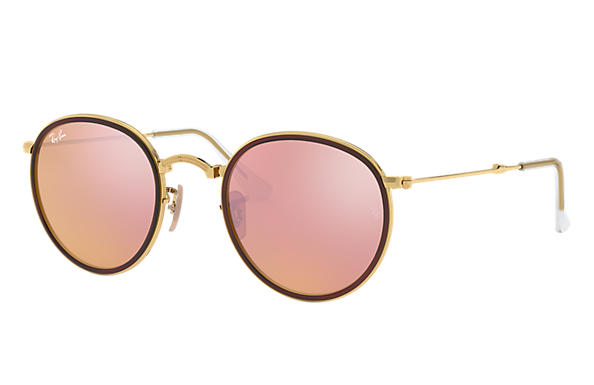 ray ban round folding classic sunglasses  ray ban 0rb3517 round folding gold sun