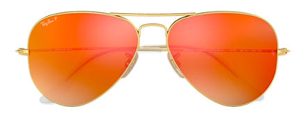 Ray-Ban AVIATOR FLASH LENSES Or avec verres Orange Flash