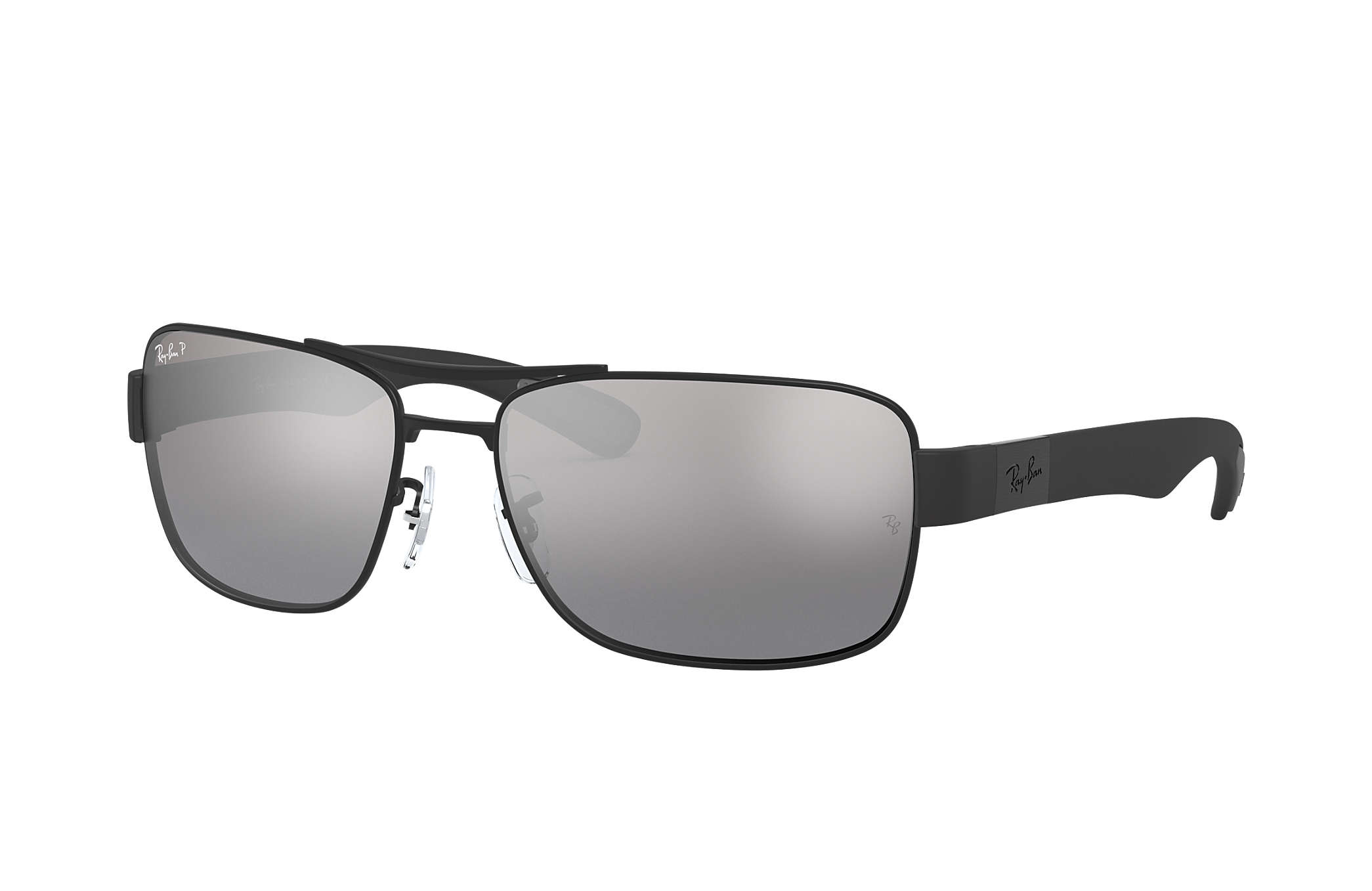 rb3296  Ray-Ban RB3522 Black, Silver Lenses