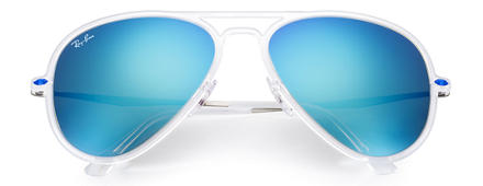 Ray-Ban AVIATOR LIGHT RAY II Transparent mit Blau Verspiegelt Gläsern