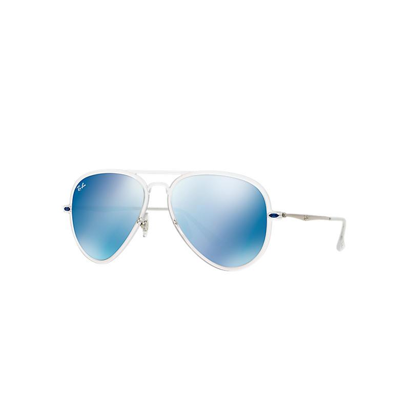 Ray-Ban Aviator Light Ray Ii Silver Sunglasses, Blue Lenses - Rb4211 8053672298765