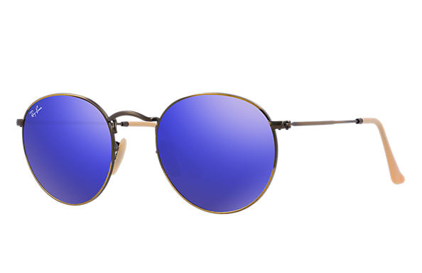 ray ban sunglasses blue lens  ray ban 0rb3447 round flash lenses bronze copper sun