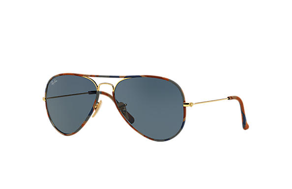 ray ban matte gold aviator  Ray-Ban Aviator Full Color Light Blue Gold, RB3025JM