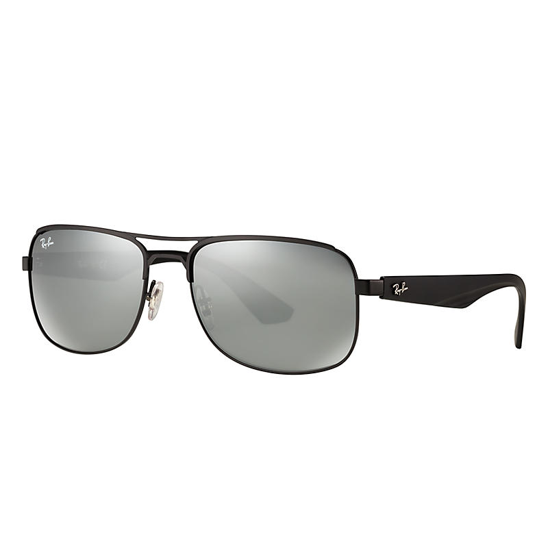 Ray-Ban Black Sunglasses, Gray Lenses - Rb3524