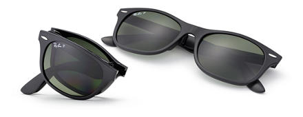 Ray-Ban New Wayfarer Folding Liteforce Black with Green Classic G-15 lens