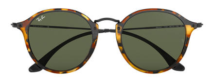 Ray-Ban ROUND FLECK Tortoise with Green Classic G-15 lens
