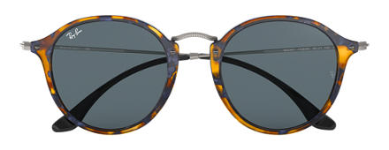 Ray-Ban ROUND FLECK Tortoise with Blue/Gray Classic lens