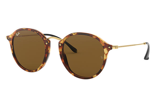 Ray-Ban 0RB2447-ROUND FLECK Tortoise; Gold SUN