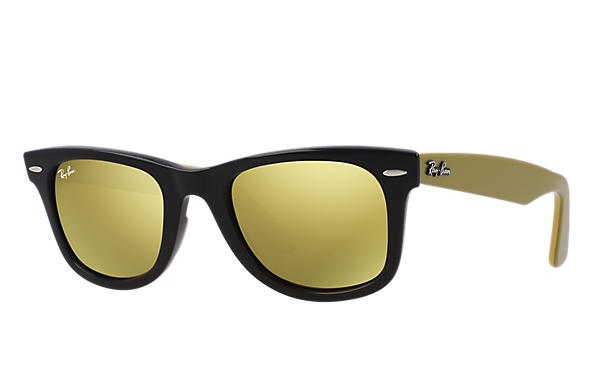 ray ban rb2140 wayfarer sunglasses yellow  ray ban 0rb2140 original wayfarer bicolor black; green,yellow sun