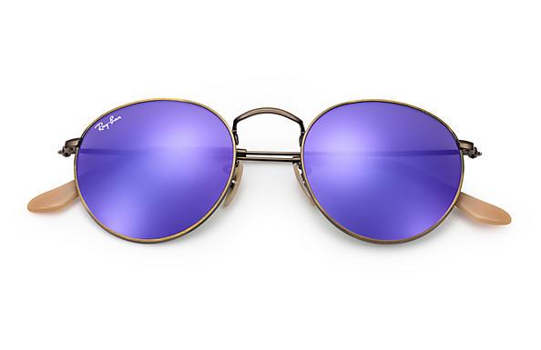 ray ban round sunglasses purple  ray ban 0rb3447 round flash lenses bronze copper sun