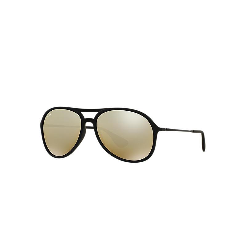 Image of Ray-Ban Alex Black Sunglasses, Yellow Lenses - Rb4201