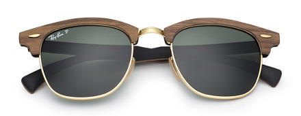 Ray-Ban CLUBMASTER WOOD Brown with Green Classic G-15 lens