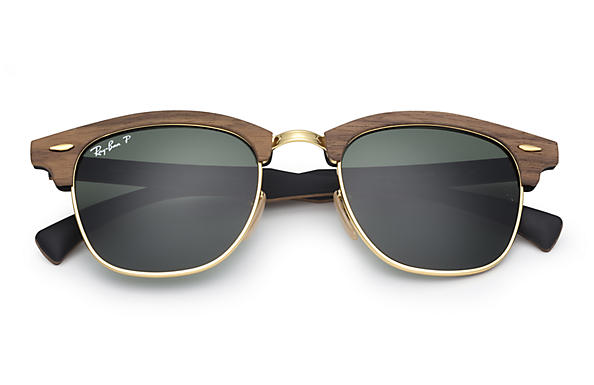 CLUBMASTER WOOD Sunglasses Brown Wood, Green Classic G-15