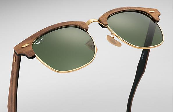 CLUBMASTER WOOD Sunglasses Brown Wood, Green Classic Lenses
