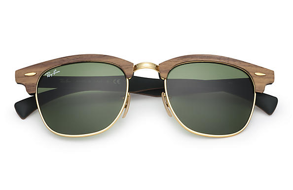 ray ban green clubmaster  Ray-Ban Clubmaster Wood Brown, RB3016M
