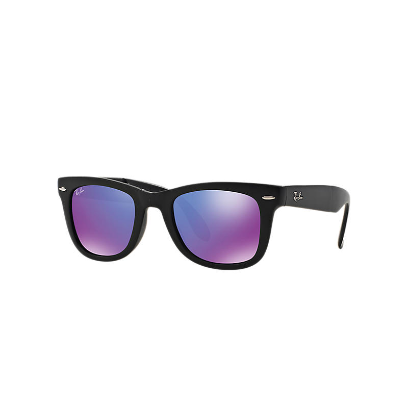 Ray-Ban Wayfarer Folding Black Sunglasses, Violet Flash Lenses - Rb4105