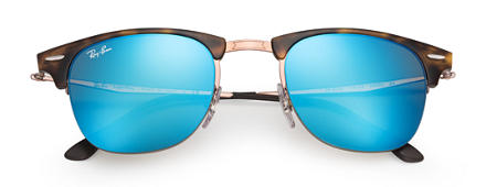 Ray-Ban CLUBMASTER LIGHT RAY Tortoise with Blue Mirror lens