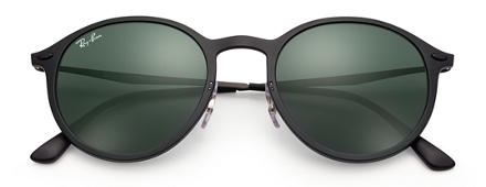 Ray-Ban ROUND LIGHT RAY Black with Green Classic lens