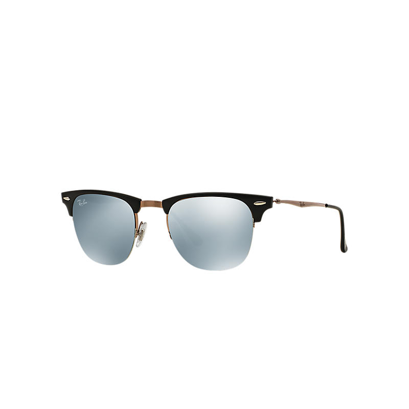 Ray-ban Mens Clubmaster Light Ray Brown Sunglasses, Gray Lenses Rb8056