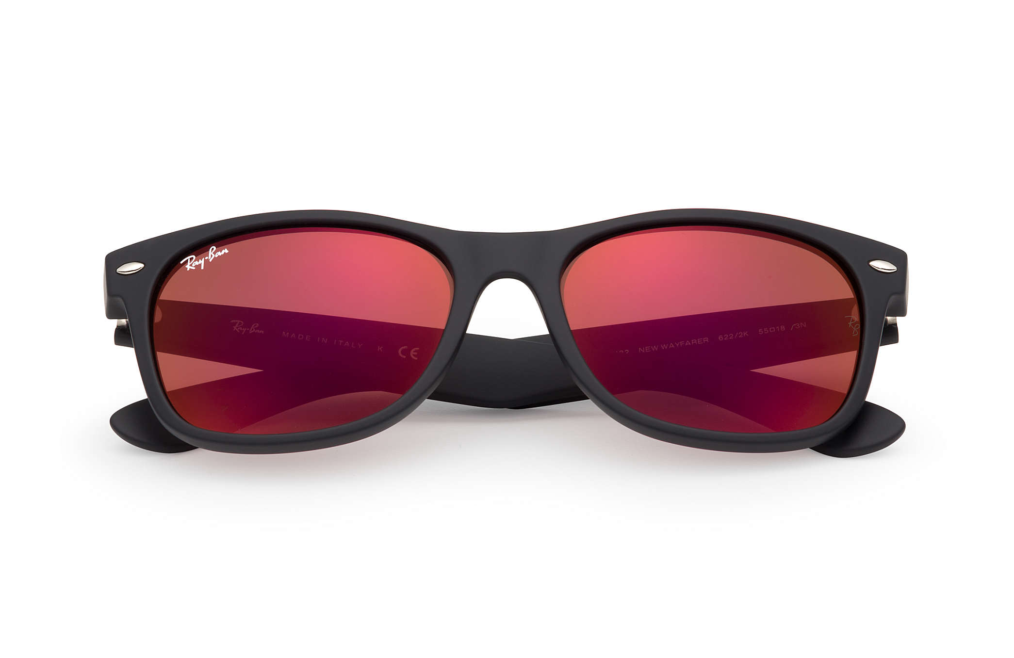 red ray ban glasses  Ray-Ban New Wayfarer Flash Black, RB2132
