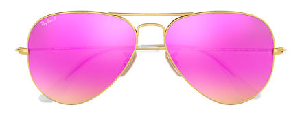 Ray-Ban AVIATOR FLASH LENSES Oro con lente Ciclamino Flash